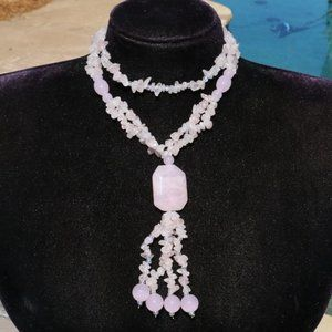 New! Rose Quartz Long Bead Tassel Pendant Necklace